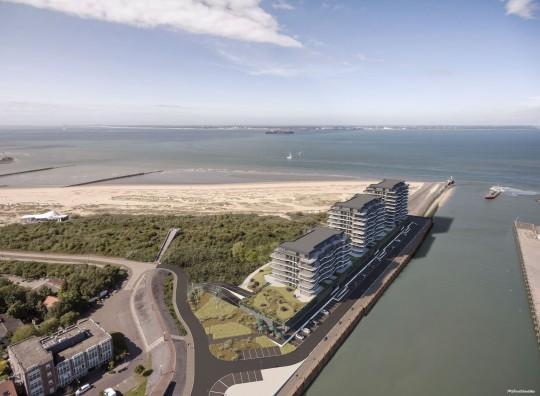Apartmenthäuser, Anlage, Blick aufs Meer