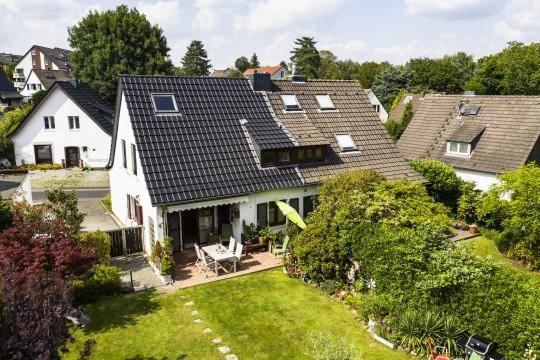 Haus mit Garten von oben